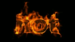 Burning hot text. Stock Footage