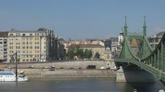 Panoramic view of Liberty Bridge, Budapest, Hungary Stock Footage
