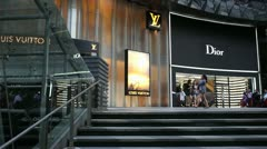 Stock Video Footage of Panorama of Luxury brands at Ion shopping mall, Singapore.