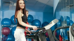 Treadmill Workout In The Gym Stock Footage