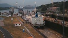 Ship At Miraflores Lock Stock Footage