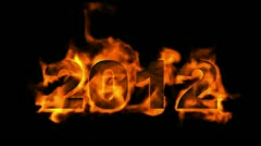Happy new year 2012,numbers 2012 burning with fire on black background. Stock Footage