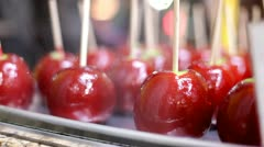 Red candy apples for sale Stock Footage