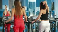 Treadmill Exercise At The Gym Stock Footage