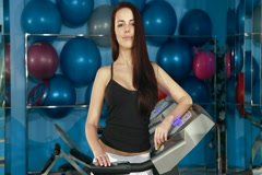 Work Out On Treadmill In The Gym Stock Footage