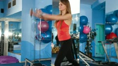 Step Aerobics  At The Gym Stock Footage