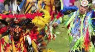 Stock Video Footage of Pow Wow Fancy Dancers