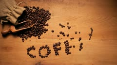 Coffee On Wooden Background Stock Footage