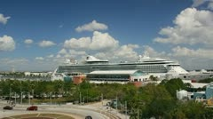 Port of Tampa. Cruise ship in port boarding. Stock Footage
