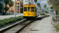 Tampa TECO Trolley traveling toward camera Stock Footage