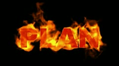 Burning plan word,business fire key words. Stock Footage