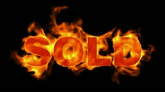 Burning sold word,hot sold. Stock Footage