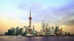 beautiful Shanghai Pudong skyline at sunset. time lapse - stock footage