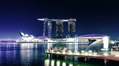 Singapore skyline at night. time lapse Stock Footage