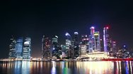 Stock Video Footage of modern cityscape at night. Singapore. time lapse