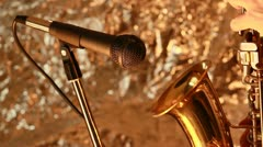 Saxophone player gold metal Stock Footage