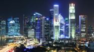 Stock Video Footage of Time Lapse Singapore Skyline at Night