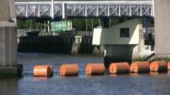Red buoys near Titanic shipyard in Belfast 1 Stock Footage