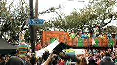 St Charles Avenue during Mardi Gras parade Stock Footage