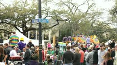 Corner of St  Charles and Milan Mardi Gras Parade Stock Footage