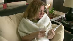 Sick woman taking her pills Stock Footage