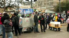 Pizza stand on St Charles during Mardi Gras Stock Footage