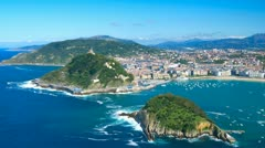 "The ""Concha"" gulf and San Sebastian city, Basque, Spain. High resolution - 4K Stock Footage"