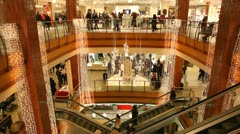 Swedish department store with escalators Stock Footage