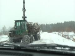 Stack logs sno truck car Stock Footage