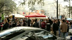 Crowds of people for Mardi Gras parade Stock Footage