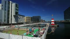 Copencabana Harbor Outdoor Pool at Fisketorvet, Copenhagen GFHD Stock Footage