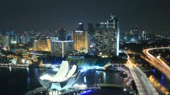Time Lapse Singapore Marina at Night Stock Footage