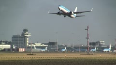 KLM plane takes off from Schiphol - stock footage