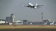 KLM plane takes off from Schiphol Stock Footage