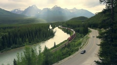 Train and highway traffic Stock Footage