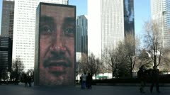 Brick face at Crown Fountain in downtown Chicago Stock Footage