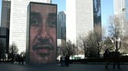 Stock Video Footage of Brick face at Crown Fountain in downtown Chicago