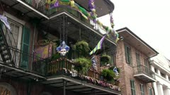 Bubbles flying around streets of Mardi Gras Stock Footage