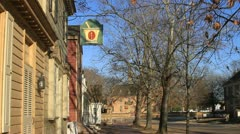 Empty streets of Williamsburg entered by colonial re-enactor Stock Footage