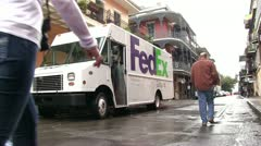 Fedex truck in downton New Orleans Stock Footage