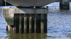Old bridge in Belfast, pillar details 2 Stock Footage
