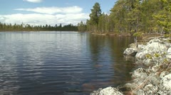 Bank of the lake in Finnish Lapland 2 Stock Footage