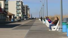 Boardwalk on Atlantic Beach Stock Footage