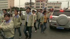 Shenzhen Chinese workers electronic factory - stock footage