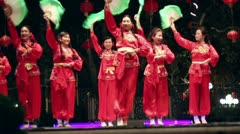 Chinese Cultural Fan Dance Stock Footage