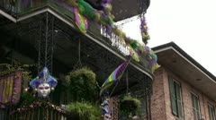 Mardi gras flag with bubbles blowing Stock Footage