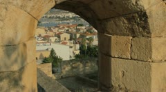 View through a loophole of the Fortensa over Rethymno at Crete, Greece Stock Footage
