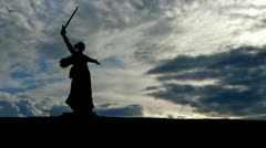 Ukraine Mother Motherland statue clouds Stock Footage