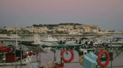 View from the marina to the old town of Rethymno at Crete, Greece Stock Footage