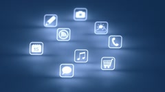 Glowing Mobile App Icons Blue (Two Short Clips) HD Stock Footage